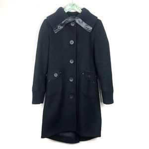 Mackage Black Wool/Leather Buttoned Coat